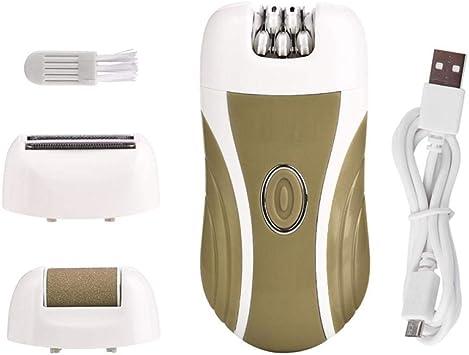Depiladora Facial 3 en 1 mujeres depiladora afeitadora facial afeitadora señora máquina de afeitar depilación bikini trimmer depiladora femenina + pie pedicura-c: Amazon.es: Salud y cuidado personal