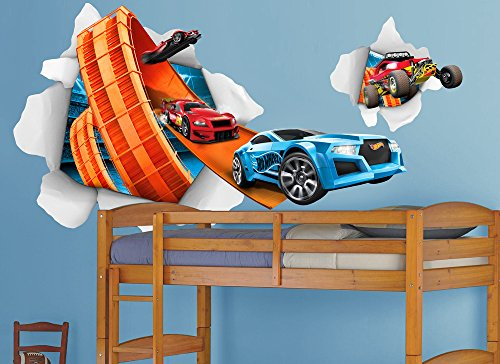 Hot Wheels Large Cars Busting In Wall Decal Set by Wall-Ah! (Image #2)