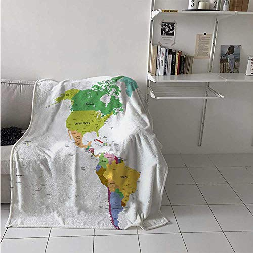 maisi Map Digital Printing Blanket Map of South and North America with Countries Capitals and Major Cities Colorful Design Summer Quilt Comforter 62x60 Inch Multicolor ()