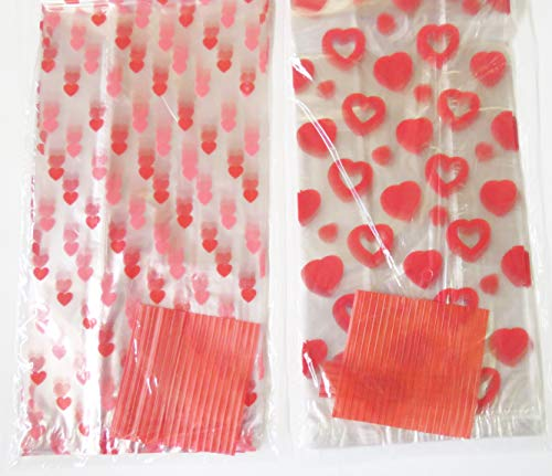 (50 Valentine Heart Candy Treat Bags)