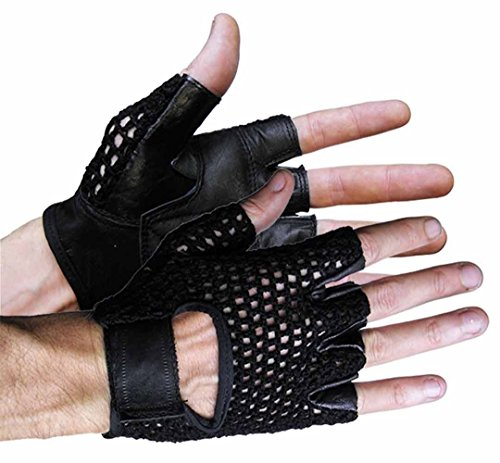 - MEN WOMEN MOTORCYCLE MESH UPPER SHORTY BLACK RIDING GLOVES LEATHER PALM(2XL)