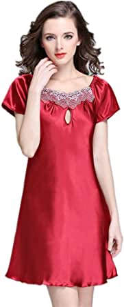 Red Rayon Nightgown For Women