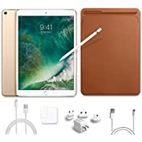 2017 New IPad Pro Bundle (5 Items): Apple 10.5 inch iPad Pro with Wi-Fi 512 GB Gold, Leather Sleeve Saddle Brown, Apple Pencil, Mytrix USB Apple Lightning Cable and All-in-One Travel Charger