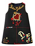 Alion Little Girls Summer Sleeveless Crewneck Floral Print Holiday A Line Leisure Dress Black 3T
