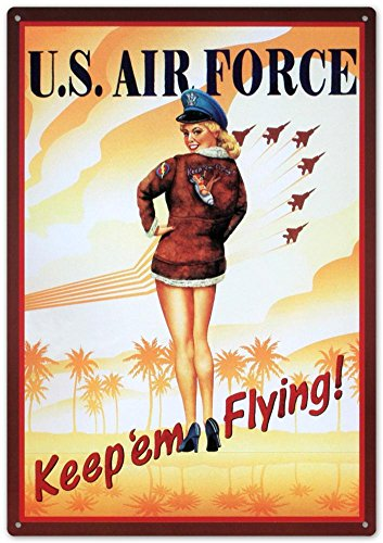 Flying Sign Tin (Air Force Keep Em Flying Sexy Girl Tin Sign 12 x 17in)