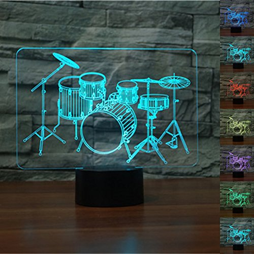 LED Night Light 3D Illusion Bedside Table Lamp 7 Colors Changing Sleeping Lighting with Smart Touch Button Cute Gift Warming Present Creative Decoration Ideal Art and Crafts (Drum Set)