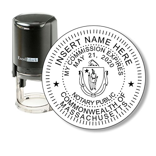 Round Notary Stamp for State of Massachusetts - Self Inking Stamp - Features the ExcelMark Double Sided Ink Pad for Longer Product Life