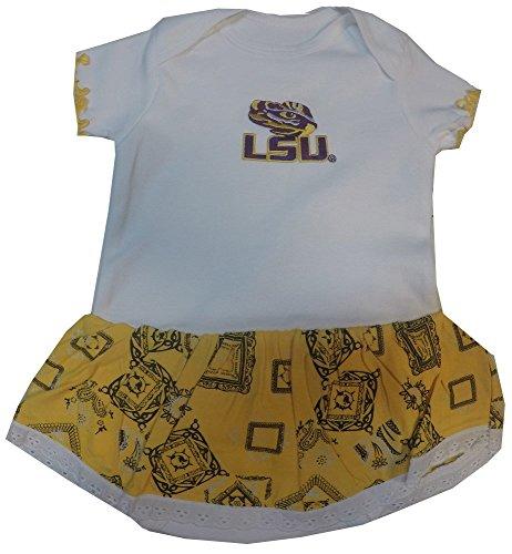 LSU Tigers Newborn Infant Bandana Ruffled Dress (0-3 Months )