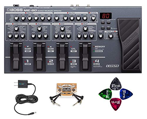 Cables Guitar Boss (BOSS ME-80 Multi-Effects Processor with Expression Pedal and 8 Footswitches Bundle With Blucoil Slim 9V Power Supply AC Adapter, 2-Pack of Pedal Patch Cables AND 4-Pack of Guitar Picks)
