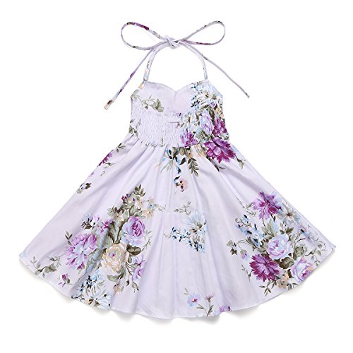 2d83ec1867e7a Flofallzique Floral Toddler Girls Sundress Birthday Party Baby Clothes (1,  Purple)