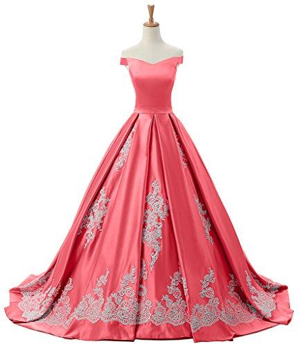 sunvary a-line cuello de pico Encaje appliques Satin Evening vestidos Homecoming Rosey