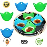 Egg Poacher – Silicone Egg Poaching Cups - For Microwave and Stovetop Egg Cooking – Non Stick – BPA Free – Pack of 4 by Kitchby