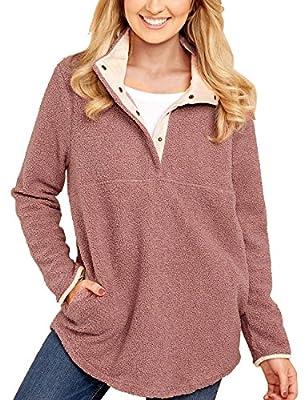 GRAPENT Women's Casual Long Sleeves Stand Collar Buttons Pockets Fleece Pullover