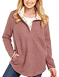 Women's Casual Long Sleeves Stand Collar Buttons Pockets Fleece Pullover