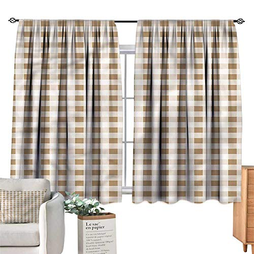 Mannwarehouse Printed Insulation Curtain Retro Chessboard Style Checkered W63 xL45 Suitable for ()