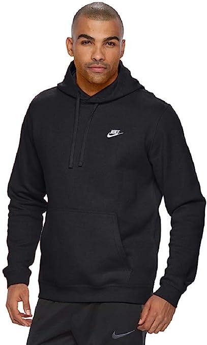 Men's Nike Sportswear Club Pullover Hoodie, Fleece Sweatshirt for Men with  Paneled Hood, Black/Black/White, L