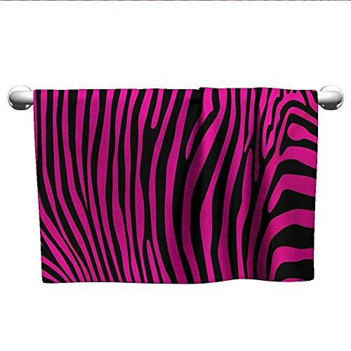 Bensonsve Bath Towel Pink Zebra,Stylish African Animal Wilderness Pattern Jungle Mammal Fashion Boho Graphic,Hot Pink Black,Towel Dress for Women