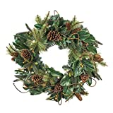 30 in. Artificial Pre Lit LED Decorated Wreath Christmas Wreath-Magnolia Leaf decorations-50 super mini LED warm clear colored lights with timer and battery pack for indoor and outdoor use