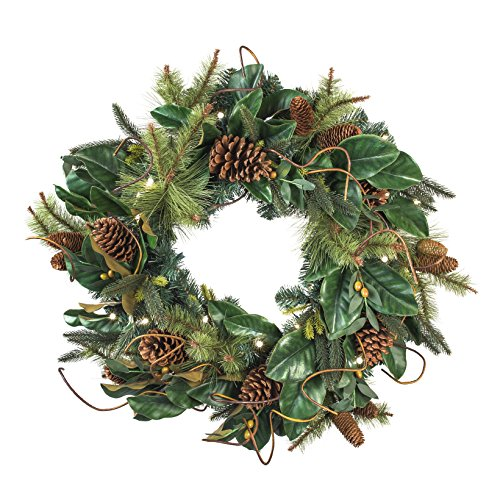 30 in. Artificial Pre Lit LED Decorated Wreath Christmas Wreath-Magnolia Leaf decorations-50 super mini LED warm clear colored lights with timer and battery pack for indoor and outdoor use - Pre Lit Artificial Christmas Wreath