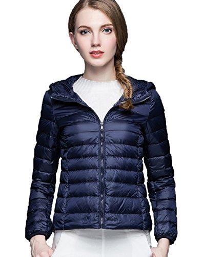 CHERRY CHICK Women's Ultralight Packable Down Jacket with Hood (Medium, Marine Blue)