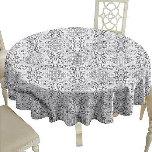 (ScottDecor Jacquard Tablecloth Grey,Victorian Regency Tile Tassel Tablecloth Round Tablecloth D 54