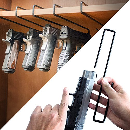 GERO Versatile Tactical Gun Rack Space Saving Gun Holder Storage Solution Perfect for Gun Cabinets and Safes Closet Shelves and Vaults with a Length of 10 Makes a Perfect Pistol Rack 5 pack