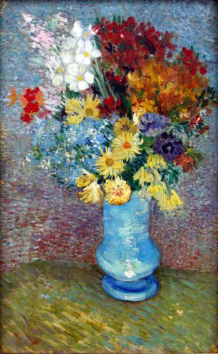 (Still Life Art Poster - Flowers in a Blue vase by Van Gogh 24 X 18)