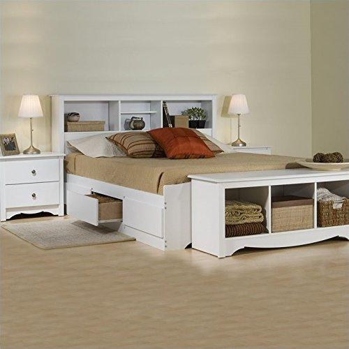 Prepac Monterey White Queen Wood Platform Storage Bed 3 Piec