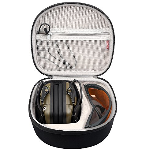 BOVKE Hard Case for Howard Leight by Honeywell Impact Sport OD Electric Earmuff and Genesis Sharp-Shooter Safety Eyewear Glasses ()