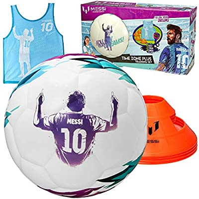Kids Soccer Training Set - 7 pc Football Time Zone Kit - Size 4 Youth Soccer Ball with 4 Cones, Stopwatch Timer, and Vest - Lionel Messi Soccer Equipment