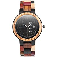 Colorful Wood Watches for Men Handmade Analog Week Date Display Causal Wrist Watches with Luminous Pointer (Date Display for Men)