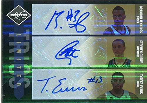 Stephen Curry, Brandon Jennings & Tyreke Evans Autographed 2010-11 Panini Limited Card