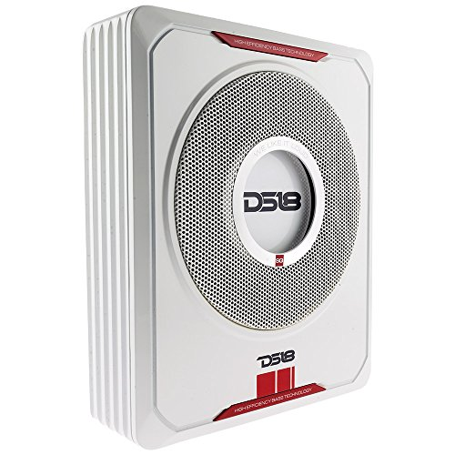 DS18 SQBASS 600 Watts Low Profile Slim Amplified 8 inch Car Subwoofer with Remote Bass Control + Installation Cable Kit