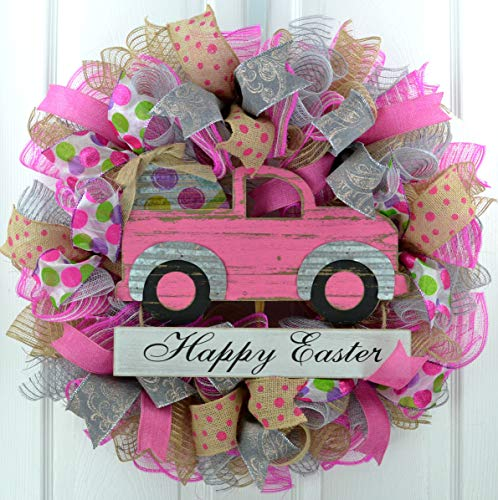 (Easter Wreath | Pickup Truck Door Wreath | Spring Easter Egg Wreath | Pink Silver Grey Jute Burlap)