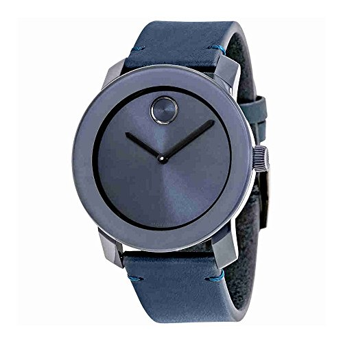 Swiss Movado Quartz - Movado Men's Swiss Quartz Stainless Steel and Leather Watch, Color Blue (Model: 3600370)
