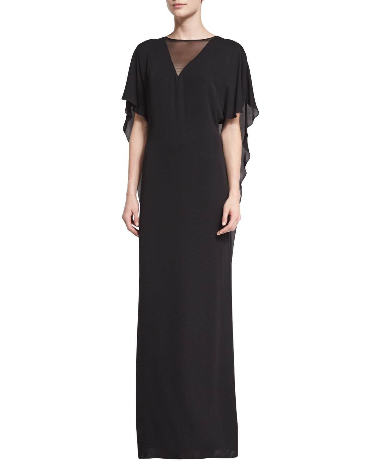 Halston Heritage Illusion-Neck Caftan-Style Evening Gown (2, Black) by Halston Heritage