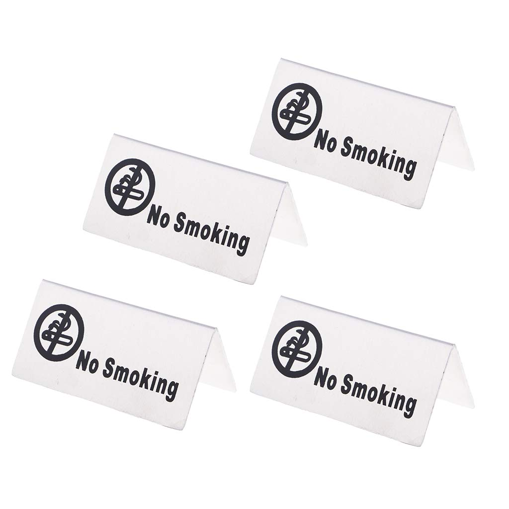Baoblaze 4Pcs Stainless Steel No-Smoking/Reserved Table Signs for Office