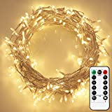 EShing 80LED Battery Operated String Lights with Remote and Timer on 33ft Clear Wire for Decorations, Bedroom, Wedding, Christmas, Parties, Patio(Dimmable, IP65 Waterproof, Warm White)