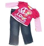 "Strawberry Shortcake Infant and Toddler Girls ""Peace"" Top & Denim Pants Set (12mos)"