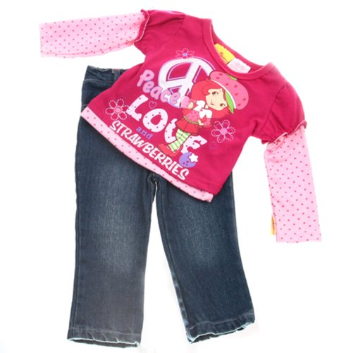 Strawberry Shortcake Outfit For Babies (Strawberry Shortcake Infant and Toddler Girls Peace Top & Denim Pants Set)