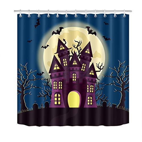 LB Magic Castle Bats Silhouette Over Full Moon Night Fantasy Landscape Castle Curtains,Waterproof Anti Mildew Fabric Halloween Bathroom Decor 72x72 Inch
