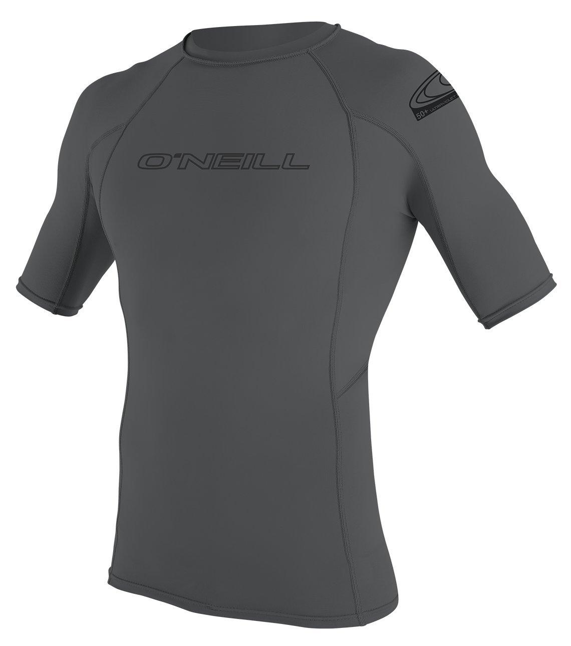 O'Neill Wetsuits Men's Basic Skins UPF 50+ Short Sleeve Rash Guard, Smoke, X-Large
