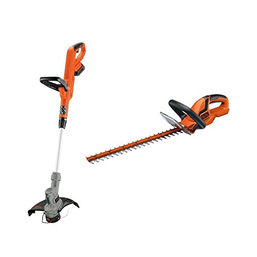 BLACK DECKER LHT2220 22-Inch Hedge Trimmer LST300 12-Inch String Trimmer Edger 20-Volt Max Lithium-Ion Cordless Trimmer Combo Kit. Combo Model LCC301