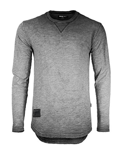 ZIMEGO Mens Long Sleeve Crewneck Oil Wash Vintage Raw Edge Hem Hipster Hip-Hop T Shirt (Medium, Charcoal Fulfilled by by ZIMEGO
