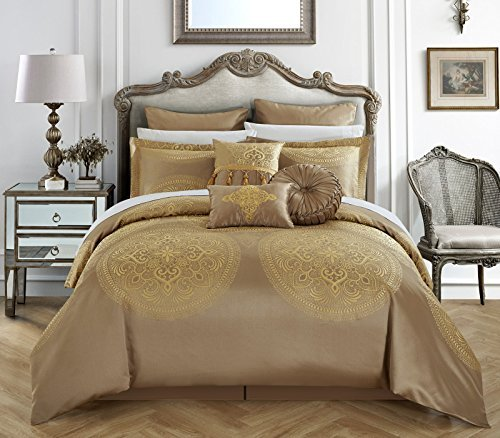 Chic Home 9 Piece Orchard Place Faux Silk Luxury Large Medalion Jacquard with embroidery details and trims Queen Comforter Set Gold (Queen Set Comforter Gold)