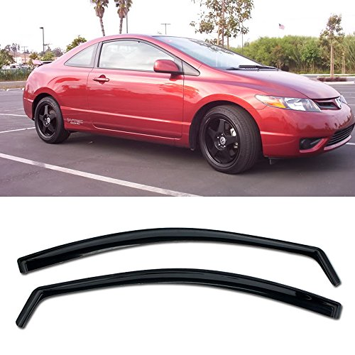 2dr Window - VXMOTOR for 06-11 Honda Civic 2Dr Coupe - in-Channel Vent Side Window Visors - JDM SI OE 2006 2007 2008 2009 2010 2011