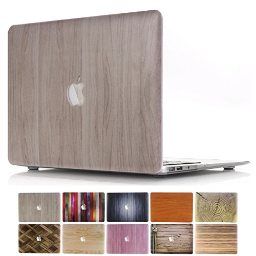 MacBook Air 13 Case, PapyHall 2 in 1 MacBook Air Protect Case Distinctive Wood Printing Plastic Hard Shell Cover Case for Apple MacBook Air 13 inch Model:A1369 / A1466 - (Wood - Burlywood)