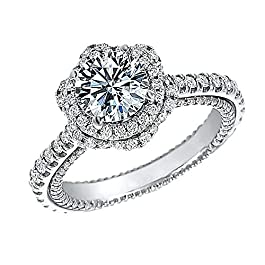 2.50 Ct Round Cut Simulated Diamond Double Halo Engagement Ring 14k Real White Gold