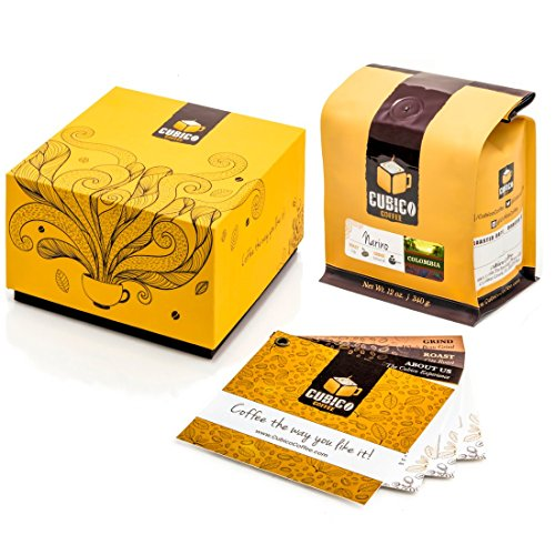 100% Colombia Coffee - Cubico Specialty Coffee - Gourmet Roasted Arabica Whole Bean - 12 Ounce Gift Box (Medium Roast)