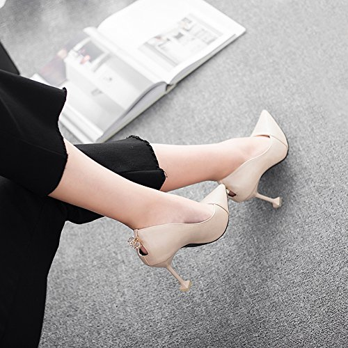 MDRW Shoes Diamond Fine A Elegant Lady Sexy Work With Spring Cat Is 9Cm 40 Apricot Point High With Hollow Nightclub Leisure Heels rOrwR4Fq